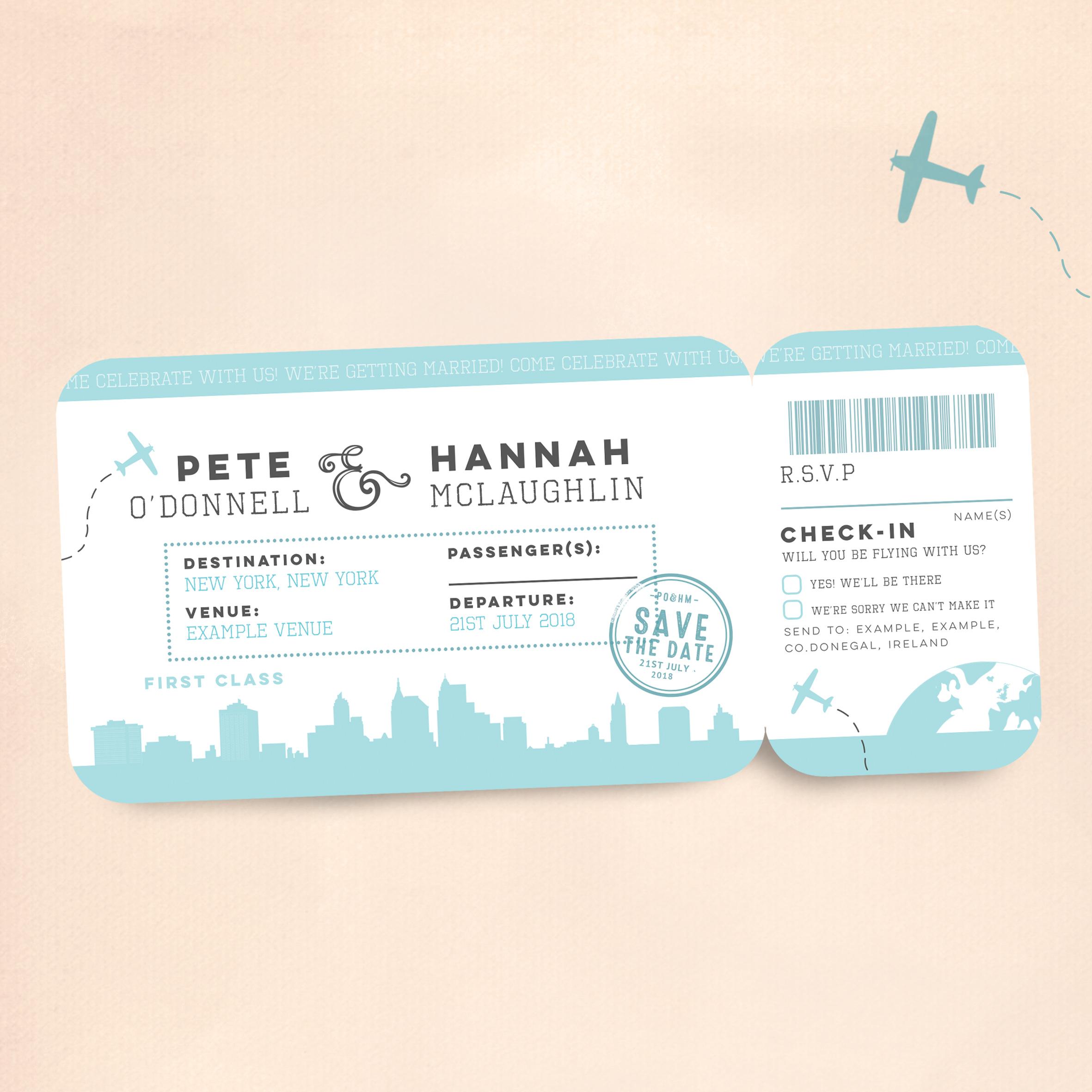 High Fliers - Skyline Boarding Pass Wedding Invitation