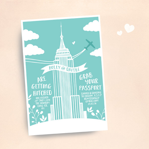 Travel Themed Wedding Stationery New York Themed Wedding Invitation