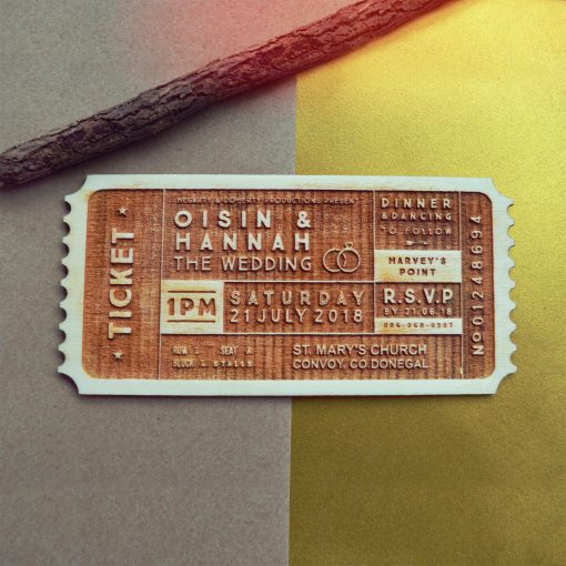 wooden ticket wedding invitation